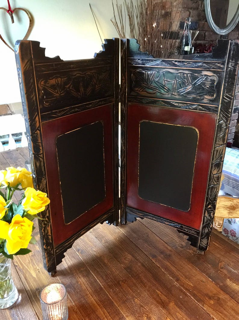 Beautiful hand carved double sided chalkboard with so much detail Chinese antique.