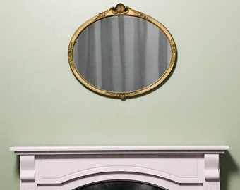 Beautiful Antique Gold Ornate Mirror - Enchanting unusual wood and plaster Mirror! Lovely Oval Antique Gold Mirror.