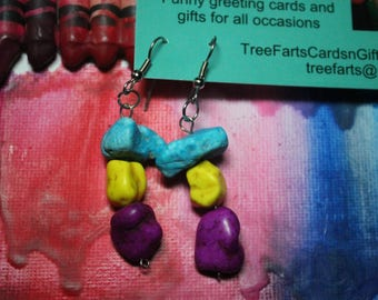 Earrings -Blue, Yellow and Purple -Recycled