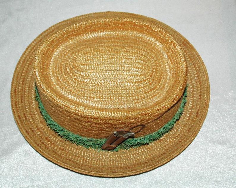 ea82987c6 Golf Theme Straw Fedora Hat by Whitehall Dorfman Genuine Milan Italy Size 7
