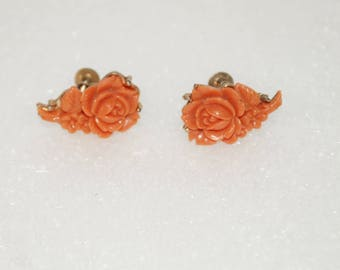 Carved Roses Coral Lucite Screw Back Earrings