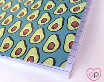 Avocado Notebook | Small Notebook with Avocados Pattern | A5 Notebook | Stocking Stuffer | Eco Friendly | Cute Notebook | Tacos