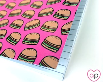 Burger Notebook | Small Notebook with Cheeseburgers Pattern | A5 Notebook | Stocking Stuffer | Eco Friendly | Cute Notebook | French Fries
