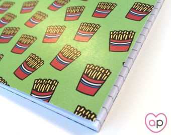 French Fries Notebook | Small Notebook with French Fries Pattern | A5 Notebook | Stocking Stuffer | Eco Friendly | Cute Notebook | Burgers