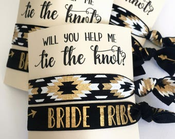 Will You Help Me Tie the Knot | Bridesmaid Proposal Gift | Bridesmaid Hair Tie Favors | Bride Tribe Hair Ties