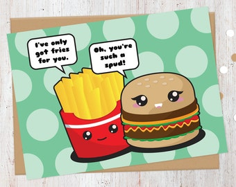 Flirting Fast Food Card   Funny Love Card   Cheeseburger and Fries   Food Puns   100% Recycled Card