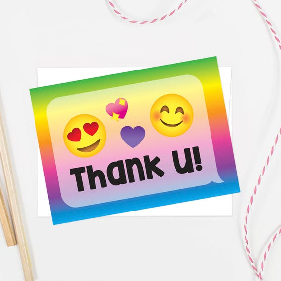 Emoji Thank You Cards Printable Matches Party