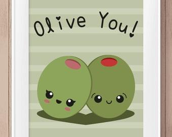 OLIVE YOU Pun Wall Art | KAWAII | Printable | Instant Download | 8x10 | Valentines Day | Love | Boyfriend Girlfriend Husband Wife | Friend