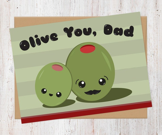 olive you dad father s day card 100 recycled card etsy