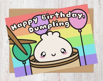 Happy Birthday Dumpling Dim Sum Card | Birthday Card | 100% Recycled Card | Kawaii