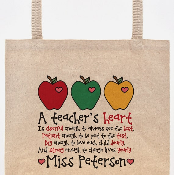 Teacher Tote Bag | A Teacher's Heart Poem | Personalized Teacher Gift