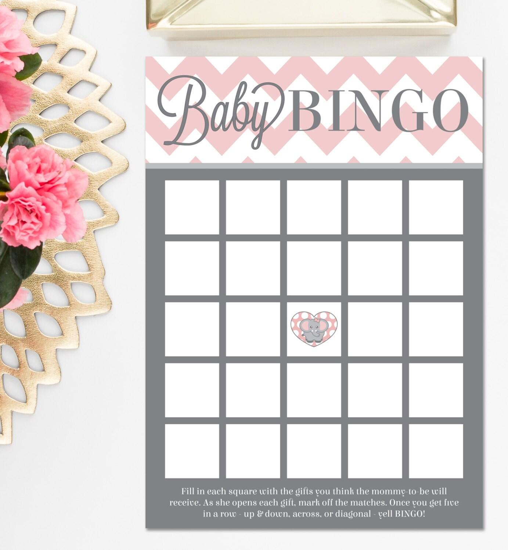 Printed Baby Shower Bingo Game Chevron Pink Elephant Theme   Etsy