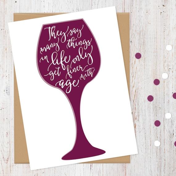 Funny Birthday Card Wine Years Happy 100