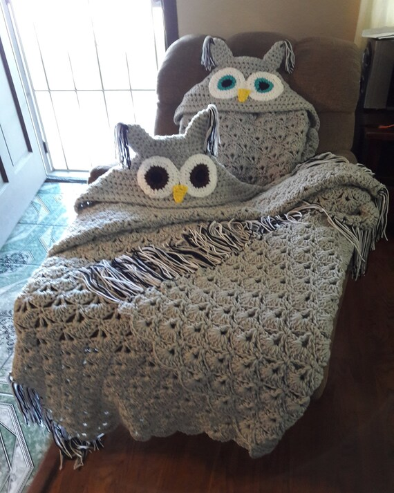 Buho con capucha crochet tiro manta manta manta de | Etsy