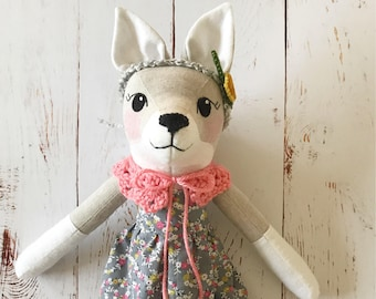 Wolf Doll: handmade heirloom rag doll, wolf girl with grey floral dress, coral collar