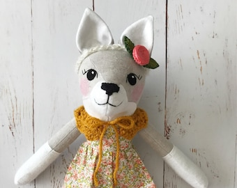 Wolf Doll: handmade heirloom rag doll, wolf girl with coral and yellow dress, yellow collar