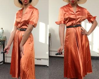 Early 1950s Gail Whitney by Mira Loma of California Orange Satin Dress