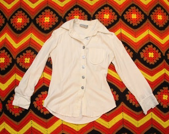 1970s White Button Up Blouse by Habitiat