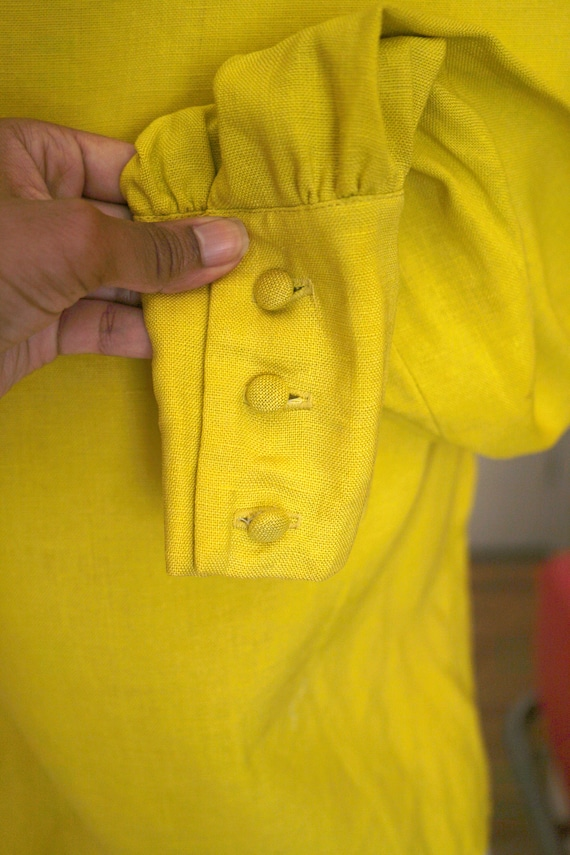 60s / 1960s Chartreuse Woven Button Blouse - image 5