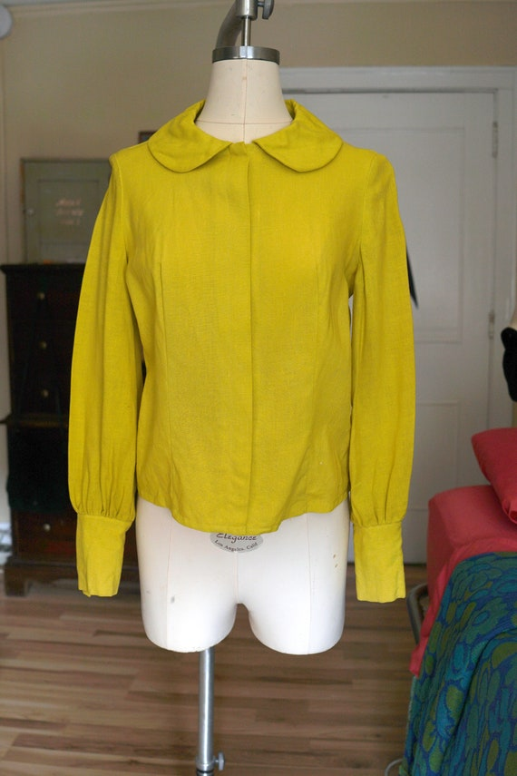 60s / 1960s Chartreuse Woven Button Blouse - image 1