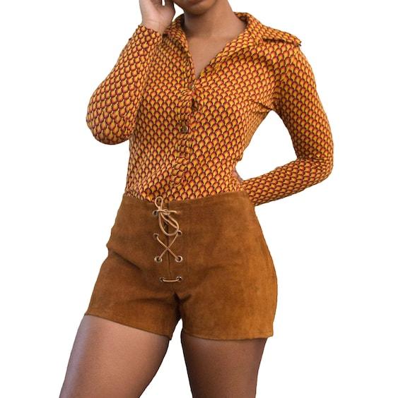 70s / 1970s Cognac Suede Lace Up Shorts