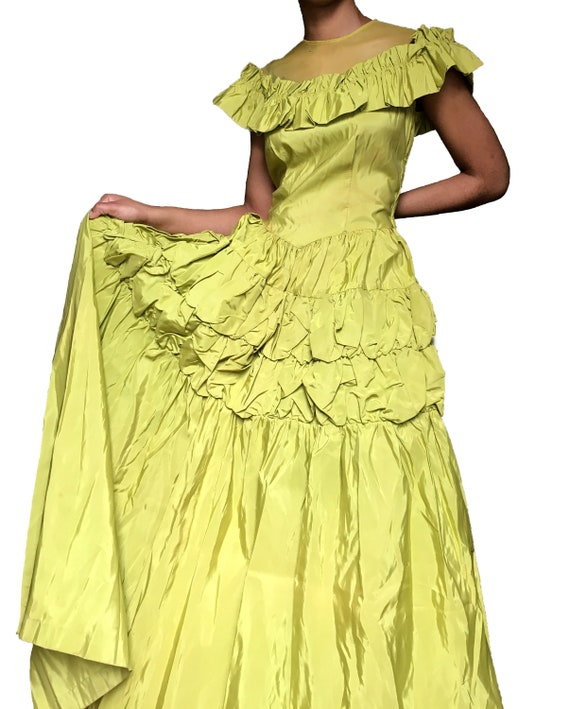 40s / 1940s Chartreuse Green Ruffle Ball Gown