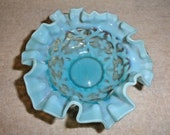 Vintage Northwood Spanish Lace Blue Opalescent Small Finger Bowl