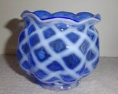 Fenton Blue Opalescent Diamond Optic Rose Bowl Vase or Votive