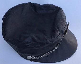 1487fd1aeda Broner Motorcycle Cap Black Leather Small Medium Vintage Chain