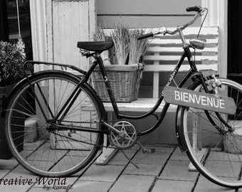 Bike Photography, Vintage Bicycle Photo, Instant download photography, Printable Photo, Black&White photo, Photo wall art, Home decor