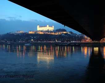 Travel photography, Instant download photography, Digital printable photo, Landscape photography, Wall decor, Danube by night