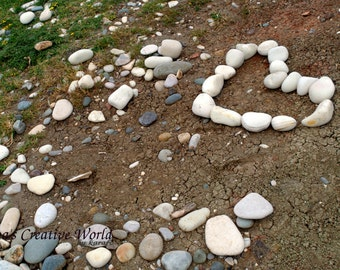 Pebble heart photo, Printable photo, Instant download photography, Wall art photo, Love photo, Summer photography