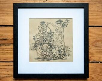 BURNIN' RUBBER Pencil-illustration