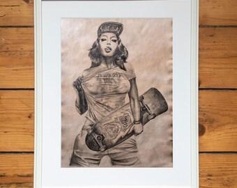 VENICE-GIRL Pencil-illustration