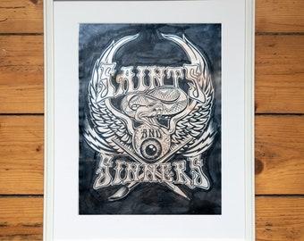 SAINTS & SINNERS ink illustration