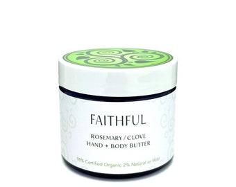 BODY BUTTER • Rosemary Clove • Natural • Organic • Hand/Body Lotion • Moisturizer • Dry Skin • Oily Skin • Combination Skin • Aromatherapy