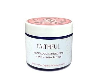 BODY BUTTER • Palmarosa Lemongrass • Natural • Organic • Hand and Body Lotion • Moisturizer • Dry Skin • Sensitive Skin • Aromatherapy