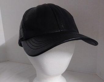 b619841fbfa Vintage Black Faux Leather Adjustable Baseball Cap Hat ~ 6 panel Hat