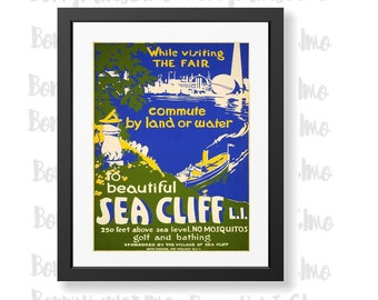 1930s WPA Long Island Sea Cliff Vintage Style Travel Poster 24x36