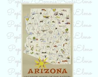 Arizona Travel Poster, Arizona Map Print, Arizona Tourism Art, Vintage Travel Poster, Living Room Decor, Office Wall Art, USA Travel Poster