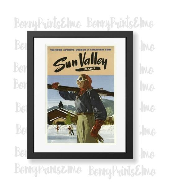 Sun Velley Idaho 2 Vintage Travel Poster Tourism old Retro Print