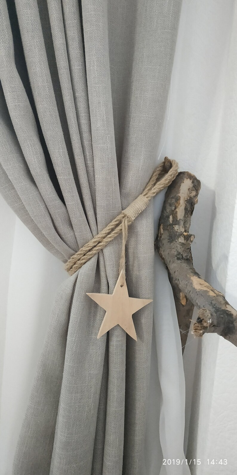 Handmade Long Wooden Heart Grey Shabby Chic Curtain Tie Backs With Jute Rope Tie Curtain Blind Accessories Home Furniture Diy Zigndigital No