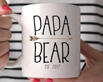 Father's Day gift, Papa Bear Mug, Grandpa Gifts, Grandpa Mug,  New Grandpa, Gift for Dad, New Dad Mug, Custom Mug, Pregnancy Reveal