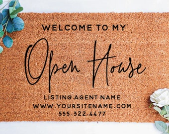 Open House Doormat, Realtor Doormat, Real Estate Agent Gift, Real Estate Listing Marketing, House For Sale Doormat, Real Estate Broker Gift