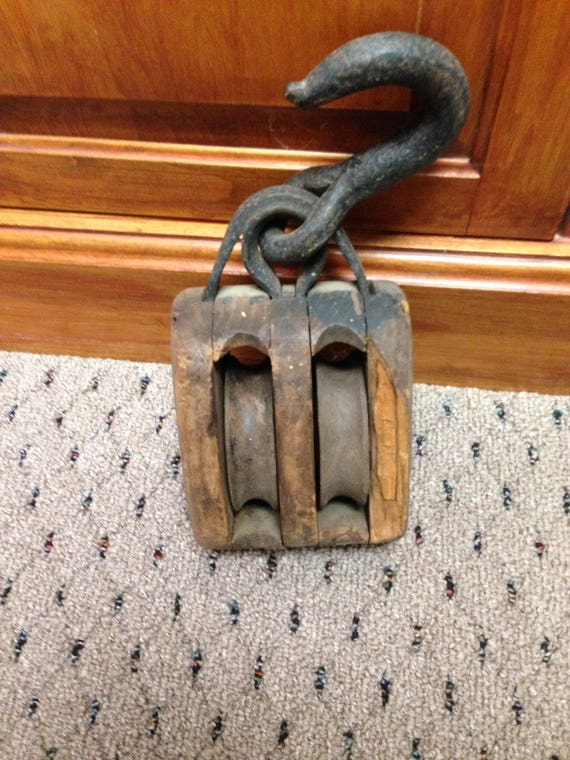 Wood /& Metal Pulley Hooks Country Farmhouse Industrial Vintage Rustic Wall Decor