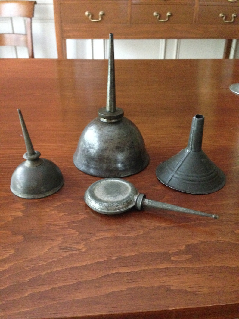 Oil Cans & Funnel Three Antique Larger Can inscribed