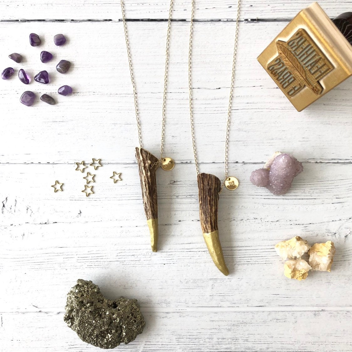 2 Gold dipped antler tip necklace - love joy - discounted
