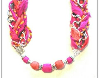 BOHO STATEMENT NECKLACE pink and orange Sari silk, rhinestone beads, seed beads, chain necklace