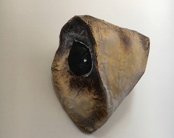 Paper mache animal head / portrait Oriental Owl Bird