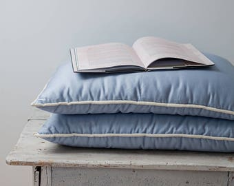 Bed pillows. King, queen, standard, euro, custom pillow inserts. Organic wool. Cotton sateen. Luxury bedding. Blue bedding. Blue decor.